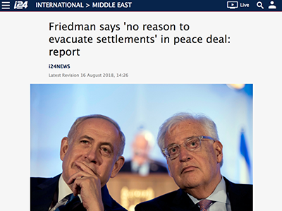 i24 Article. Friedman says no need to evacuate settlements