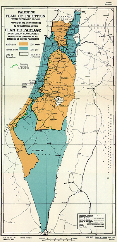 Map showing UN Partition Plan for Palestine in 1947