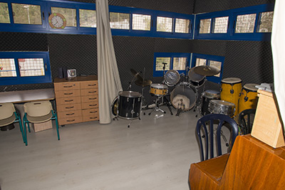 Inside the music therapy room, for treating children who have been affected by terrorism.