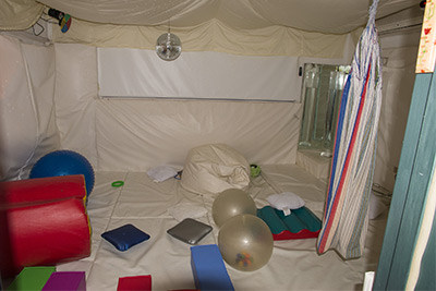 Inside the quiet multi sensory therapy room.