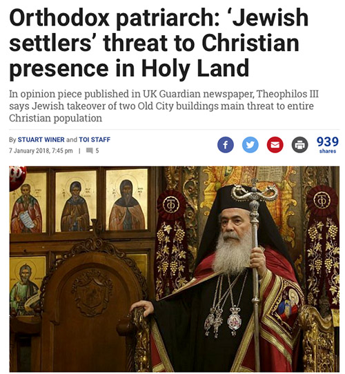 Orthodox patriarch says Jewish settlers are a threat to Christian presence in the holy land.