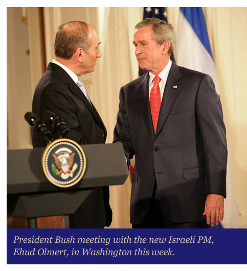 Ehud Olmert meet with President Bush in Washington.